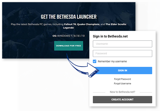 Download / Install / Open the Bethesda Launcher Client